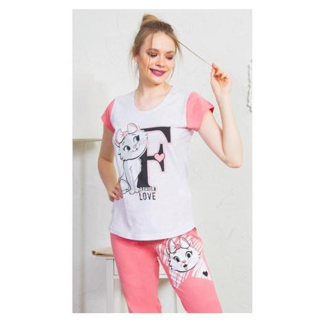Dámské pyžamo kapri Fashion, XL, světle šedá Vienetta Secret