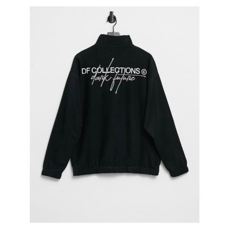 ASOS Dark Future half zip track sweatshirt in polar fleece with logo back print in black