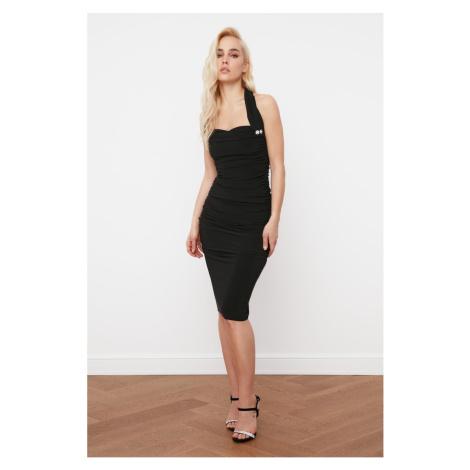 Trendyol Drapeli Dress with Black Stone Button Detail