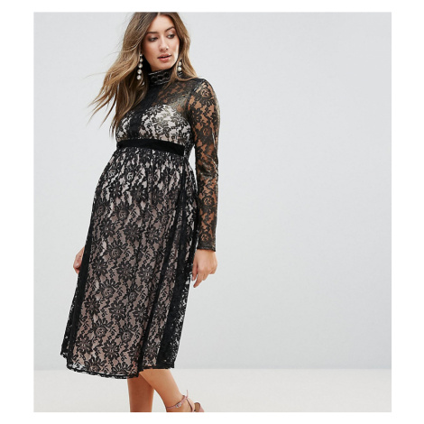 Little Mistress Maternity Allover Cutwork Lace Midi Dress - Black