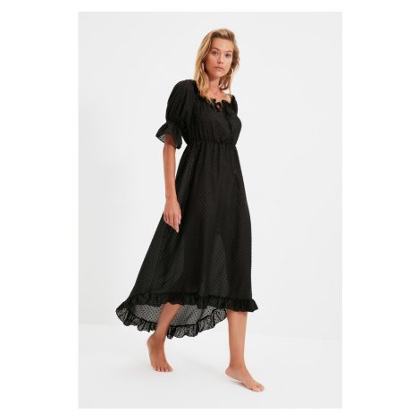 Trendyol Black Textured Carmen Collar Beach Dress