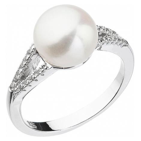Stříbrný prsten s bílou říční perlou 25003.1 Victum