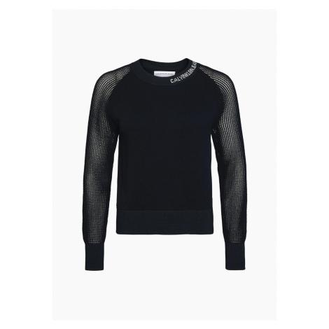 Calvin Klein Calvin Klein dámský černý svetr Cotton Sweater With Mesh Sleeves
