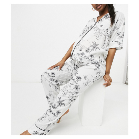 ASOS DESIGN Maternity modal desert print short sleeve shirt & trouser pyjama set in ecru-Cream