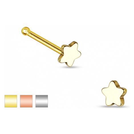 Rovný piercing do nosu z oceli 316L, malá pěticípá hvězdička - Barva piercing: Zlatá Šperky eshop