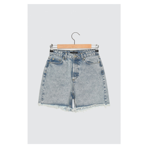 Trendyol 100% Organic Cotton Denim Shorts WITH Blue Wash Effect Tassels