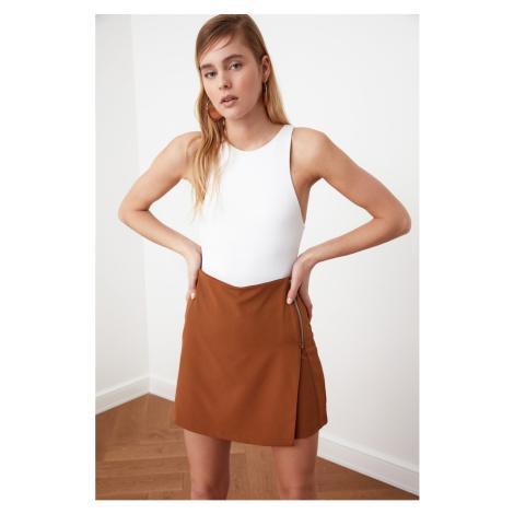 Trendyol Brown Zipper Detail Shorts & Bermuda