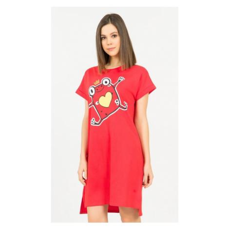 Dámská noční košile s krátkým rukávem Vienetta Secret Žabka | červená