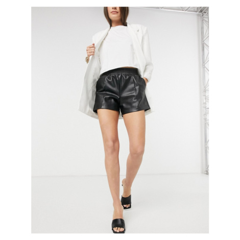 River Island faux leather shorts in black