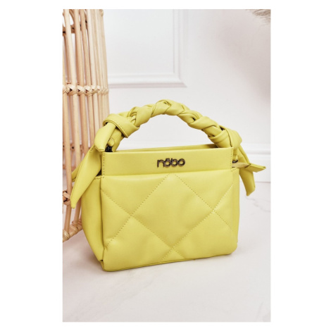 Small Quilted Purse On A Chain NOBO NBAG-K1330 Yellow Kesi
