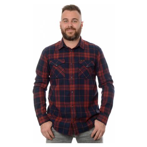 Košile Lee Clean Reg Western Fired Brick pánská červeno-modrá