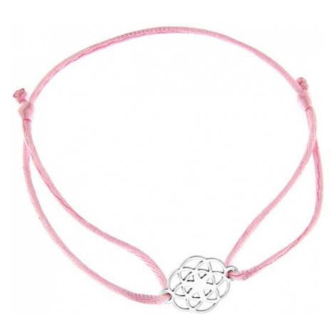 Praqia Šňůrkový růžový kabala náramek Mandala KA6200