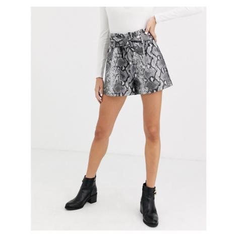 Miss Selfridge faux leather shorts tie waist in snake print-Multi
