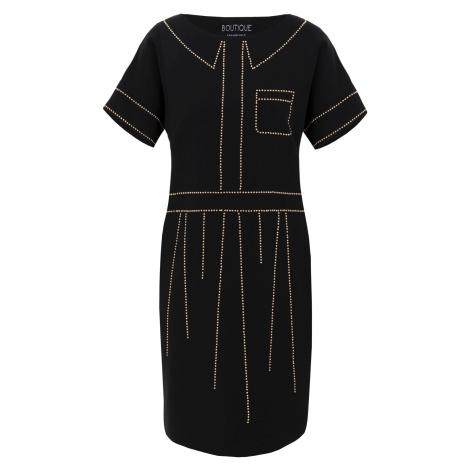 Černé šaty se zlatým zdobením - MOSCHINO