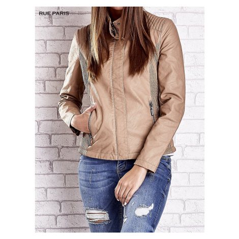 Ladies´ beige leather biker jacket with stitching on the shoulders Fashionhunters