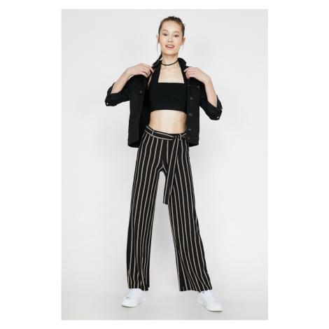 Koton Women's Black Normal Waist Belt Detailed Striped Trousers