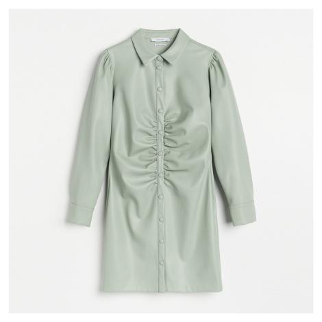 Reserved - Koženkové košilové šaty - Zelená