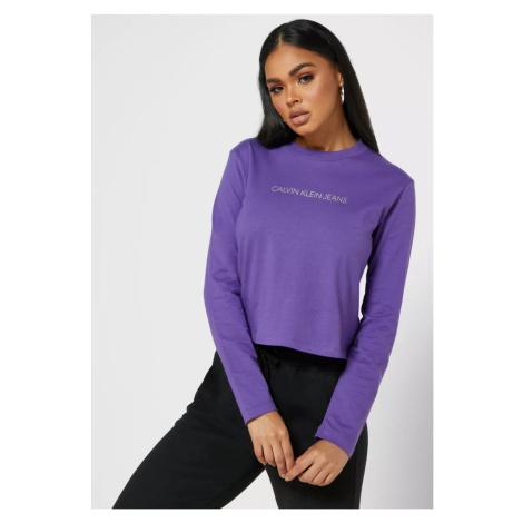 Calvin Klein Calvin Klein dámské fialové tričko s dlouhým rukávem ORGANIC COTTON LONG SLEEVE T-S