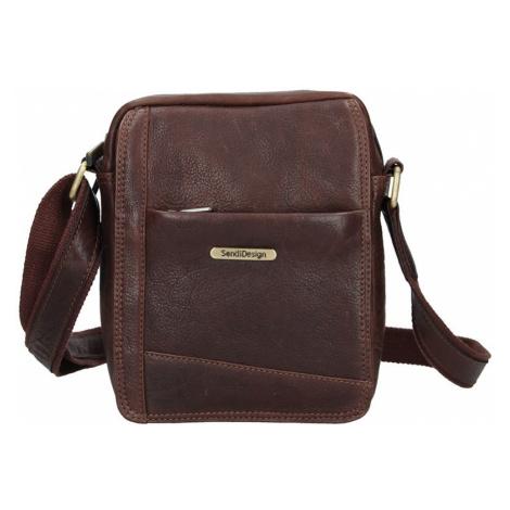 Pánská kožená taška přes rameno SendiDesign Egisto - hnědá Sendi Design
