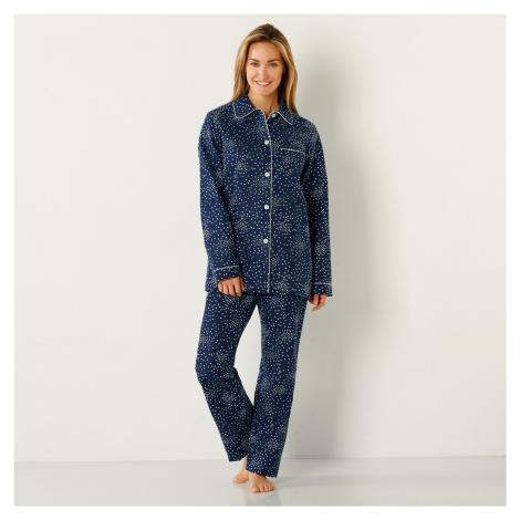Blancheporte Pyžamo s potiskem hvězdiček, flanel nám.modrá