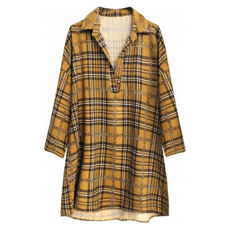 Károvaná oversize košile v hořčicové barvě (302ART) žlutá ONE SIZE
