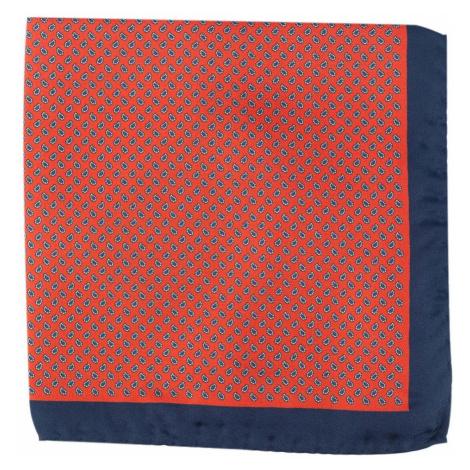 Červeno-modrý hedvábný kapesníček s paisley vzorem John & Paul