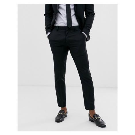ASOS DESIGN skinny wool tuxedo suit trousers in black