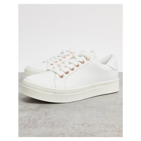 Accessorize chunky flatform trainers in white and rose gold