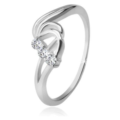 Stříbrný prsten 925, tři čiré zirkony, rozbouřené vlny Šperky eshop