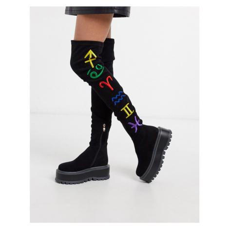 Koi Footwear Zodiac vegan over the knee flatform boot in black
