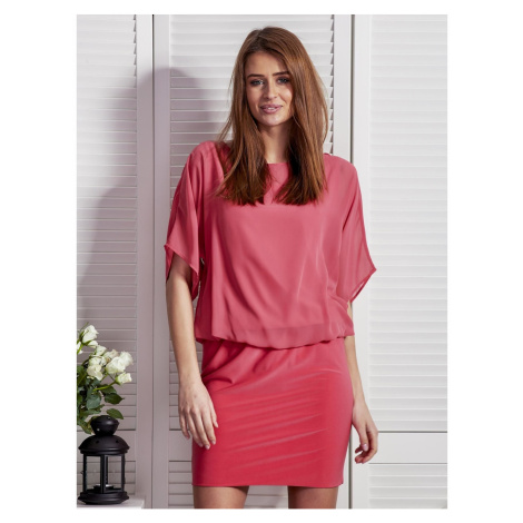 Pink dress with airy top Fashionhunters