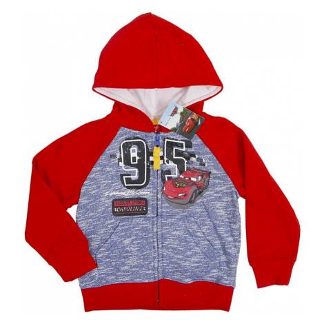 Cars červená mikina na zip s kapucí pro kluky Disney