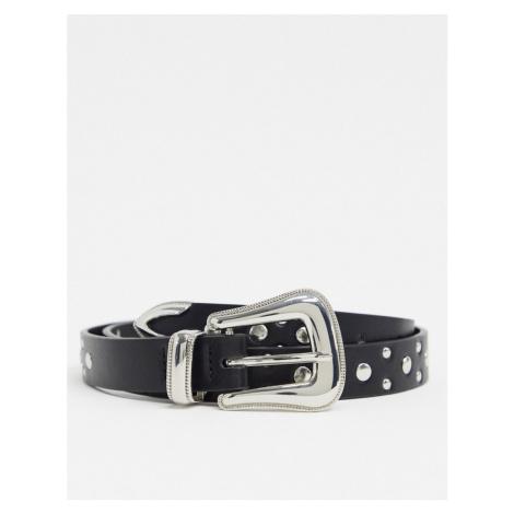 ASOS DESIGN super skinny western belt in black faux leather with studding
