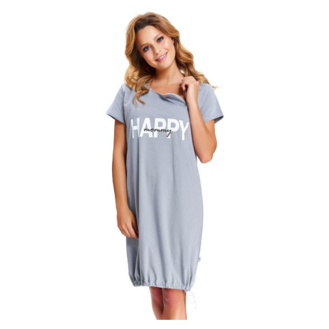 Mateřská noční košile Happy Mommy šedá zip