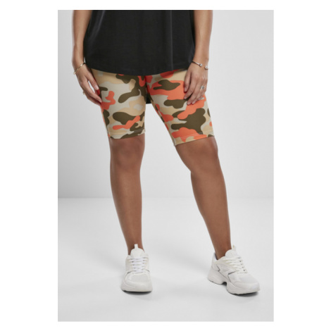 Urban Classics Ladies High Waist Camo Tech Cycle Shorts Double Pack brick camo/olive