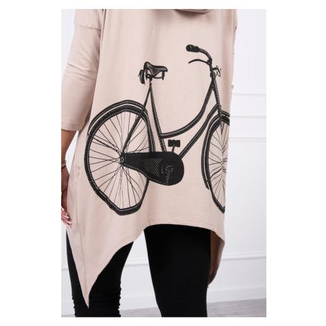 Sweatshirt with a bicycle print beige