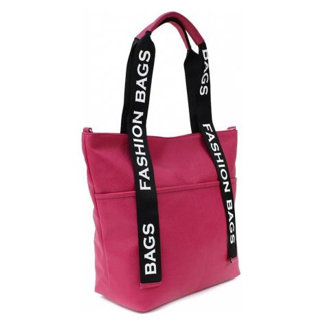 Fuchsiově růžová velká dámská zipová taška Adelia Tony