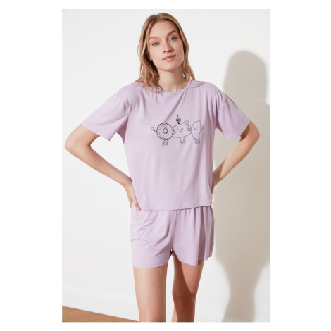 Trendyol Lilac Printed Knitted Pyjama Set