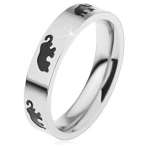 Dětský ocelový prsten stříbrné barvy, černí glazovaní sloni, vysoký lesk Šperky eshop