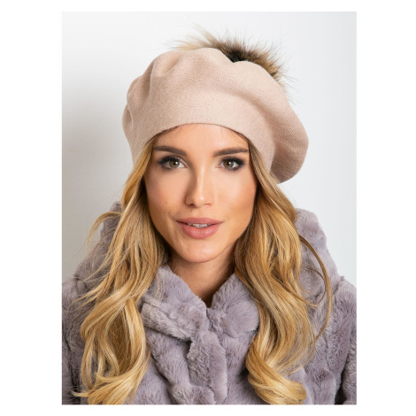 Dirty pink beret with pompom Fashionhunters