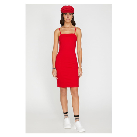 Koton Women's Red Sleeveless Midi Strap Dress