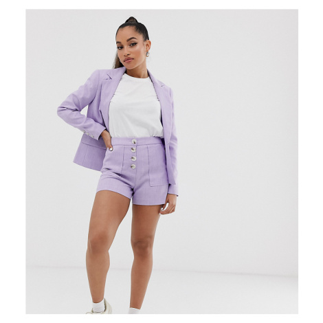 Miss Selfridge Petite tailored shorts with button detail in lilac-Purple