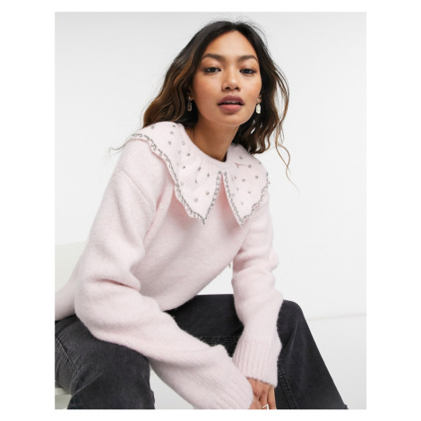 River Island oversized collar jumper in light pink