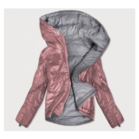 Oboustranná růžovo-šedá lesklá dámská bunda (B9553) růžová