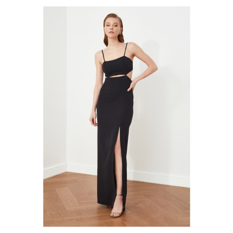 Trendyol Black Slit Detailed Evening Dress & Graduation Gown