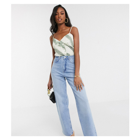 ASOS DESIGN Tall high rise 'relaxed' dad jeans in midwash-Blue