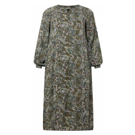KAFFE CURVE Košilové šaty 'Erna' bílá / olivová / khaki
