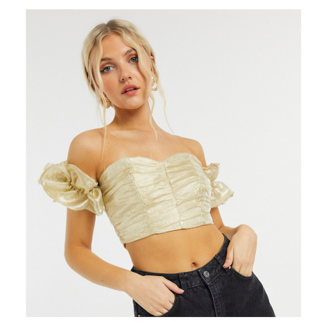 Collective the Label exclusive ruched crop top with volume sleeve in textured gold