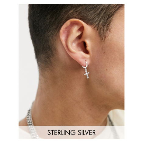 ASOS DESIGN sterling silver 7mm hoop earrings with cross charms in silver