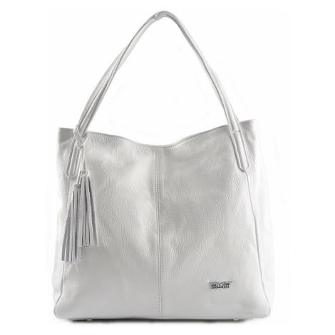 BRIGHT Dámská kožená kabelka A4 Bílá, 39 x 14 x 34 (BR19-CAJ4047-15DOL)
